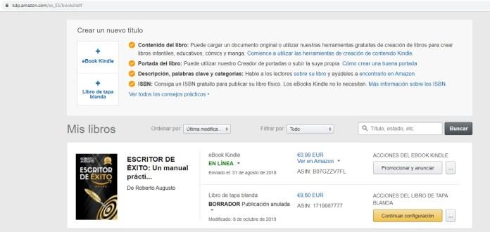 Publicar libro en Amazon
