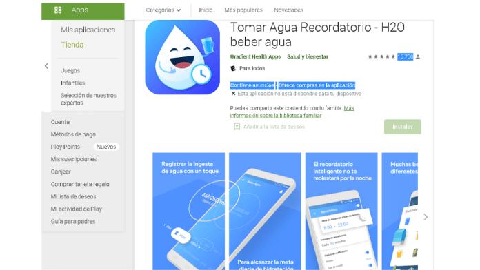 App para recordar beber agua.
