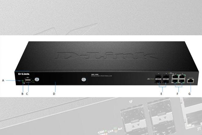 A. Power LED B. LED del ventilador C. Puertos USB para actualizar la configuración y exportación del firmware D. Ranura HDD E. Puertos Gigabit LAN SFP (1-4) F. Puertos Gigabit LAN RJ-45 (1-4) G. Puertos de consola/administración