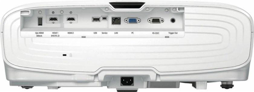 Este es el panel trasero del proyector, con su conectividad