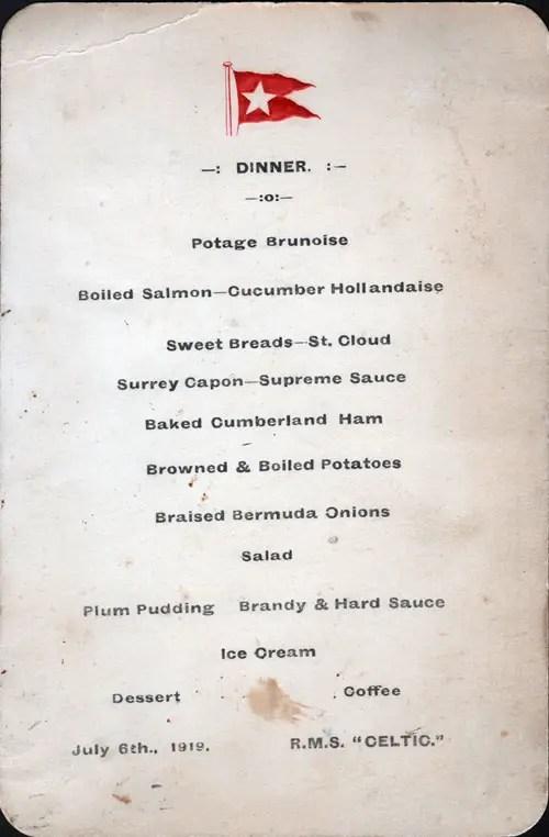 RMS Celtic Dinner Menu Card 6 July 1919 GG Archives