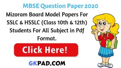 Mizoram Question Paper
