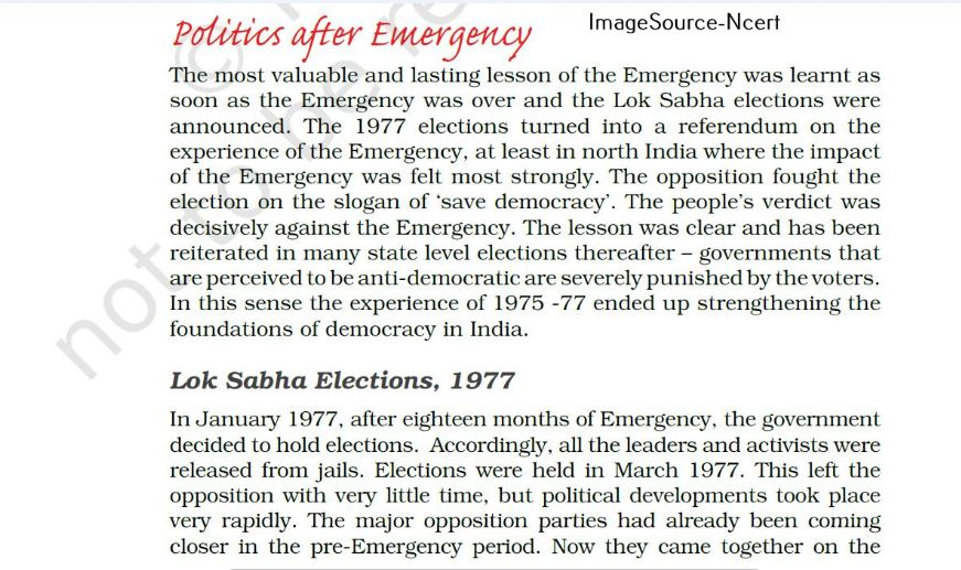 politics after emergency