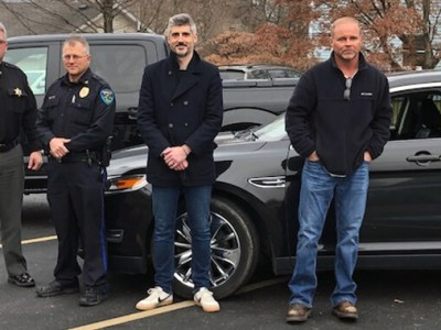 Chief Deputy Bill Helms, Marshall County Sheriff's Department; Chief Tom Mitchell, Moundsville Police Department; GKT Attorney Christian Turak; Brian Giles, Owner of BMG Transport.