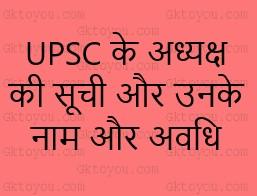 UPSC के अध्यक्ष की सूची