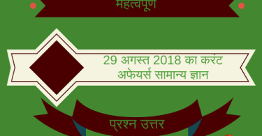 Current affairs - General knowledge 29 August 2018