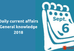 6 September 2018- Current affairs general knowledge