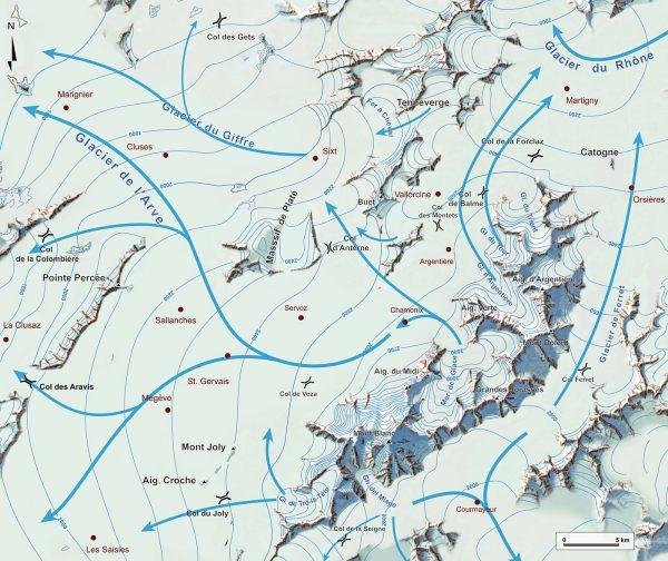 Paléogéographie du massif du Mont Blanc au maximum de la dernière glaciation, les flèches indiquent la direction des écoulements glaciaires