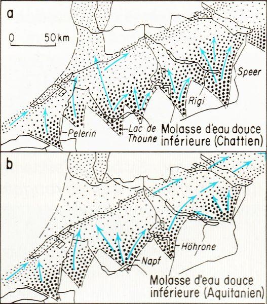 Paléogéographie du bassin molassique (entre 20 et 18 Millions d'années) avec les rivières édifiant les deltas (Mon Pèlerin, Guggisberg, Napf, Rigi, Hörnli