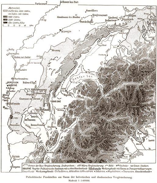 Carte paléogéographique de Penck et Bruckner (1909)