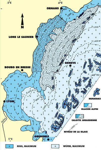 La calotte jurassienne et les extensions Riss et Würm (d'après Campy 1988)
