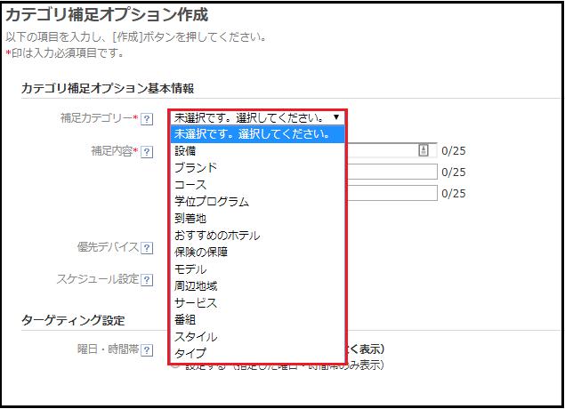 カテゴリ補足オプション②