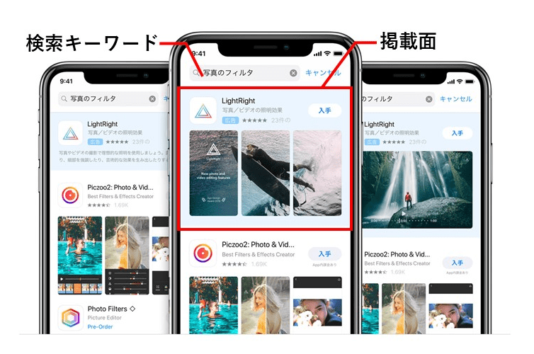 Apple Search Ads掲載面