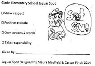 Jaguar Spot Designed by Maura Mayfield and Carson Finch, 4th Graders at Glade Elementary School