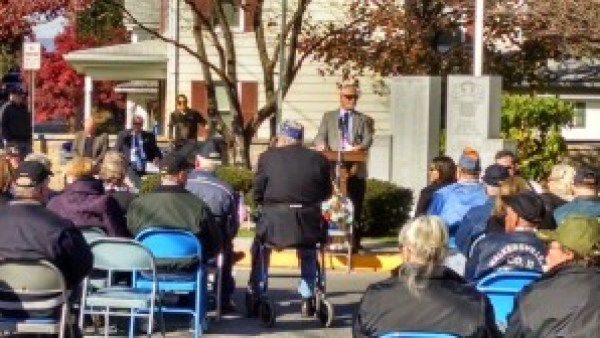 Walkersville Town Commissioner Donald Schildt, Sr. opens the Veterans' Day Service.