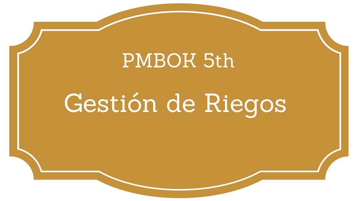 Gestión de riesgos PMBOK