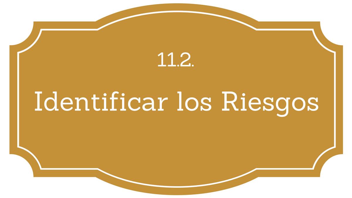11.2. Identificar los Riesgos PMBOK