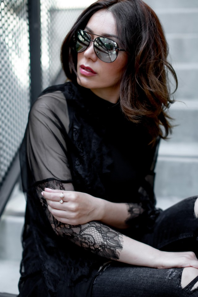 Glam and Posh fashion blogger Maryam Via, wearing a long lace cover up