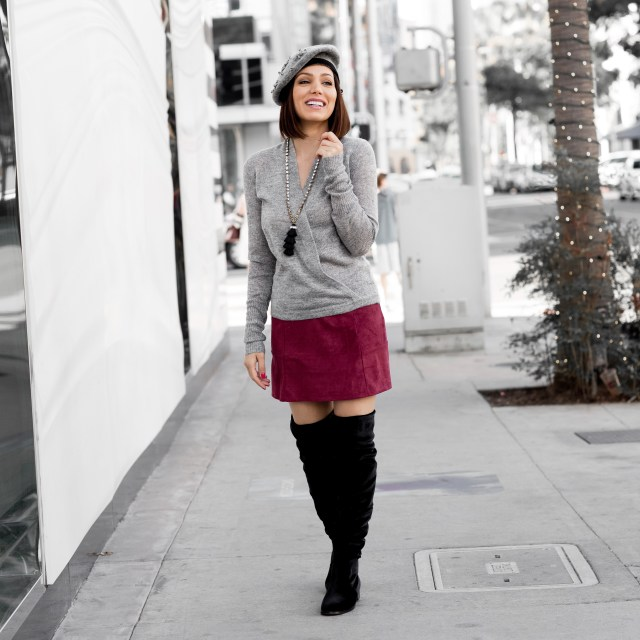 over the knee suede black boots with mini skirt