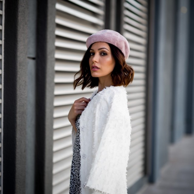 casual cool style wearing white coat and pink beret