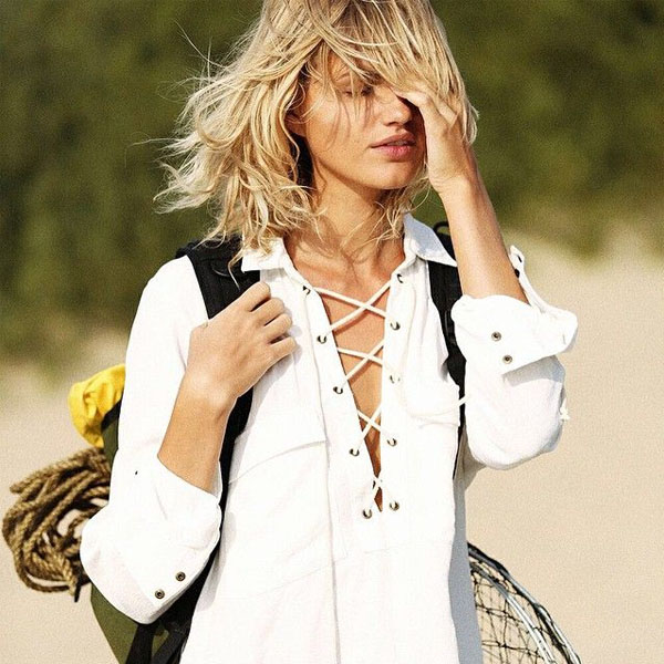 camisa lace-up