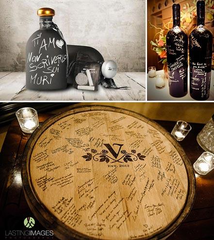 guest book botte o bottiglia per tema vino