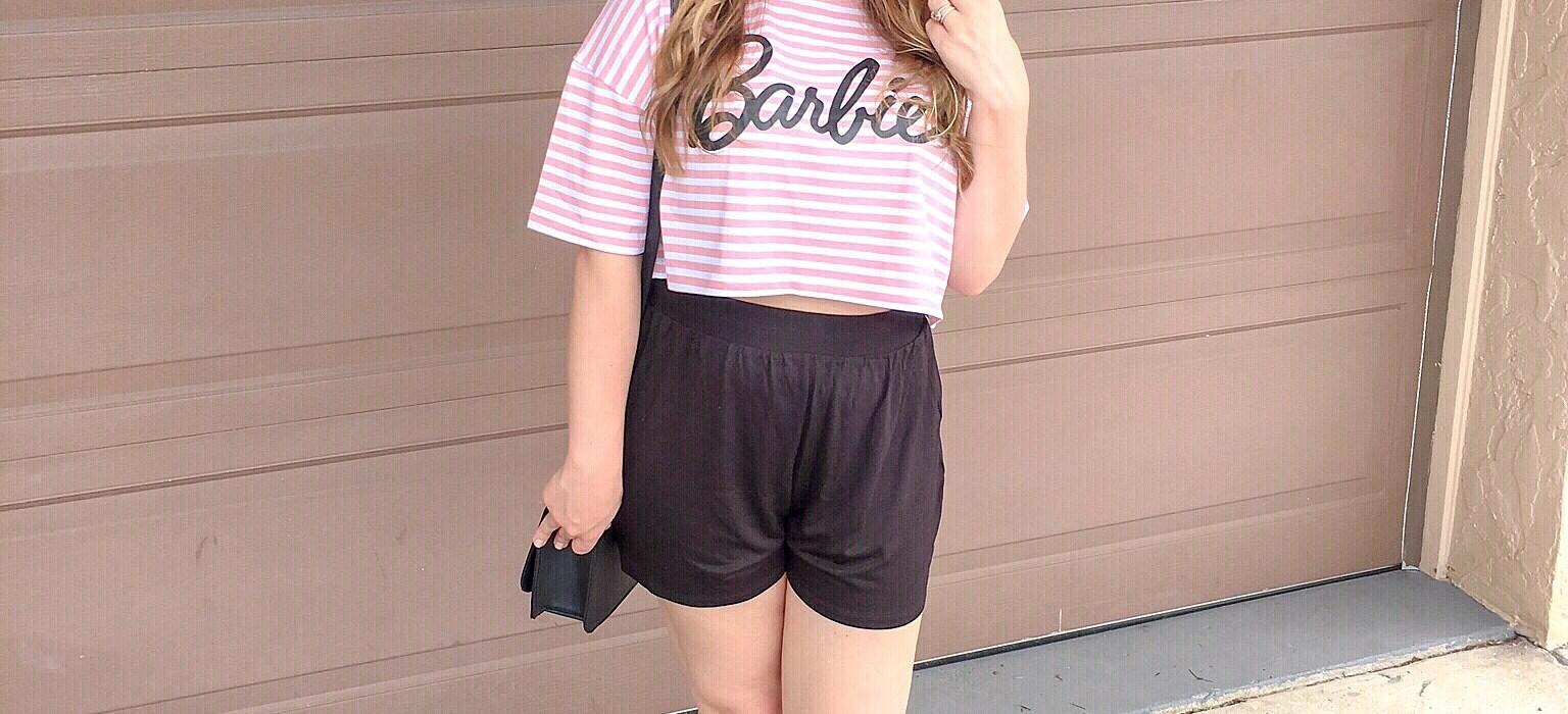 Barbie Crop Top & High Waisted Shorts