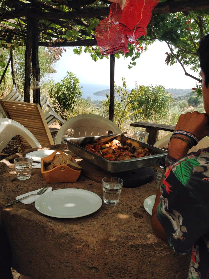 An average lunch of WWOOF volunteers on a farm in Greece