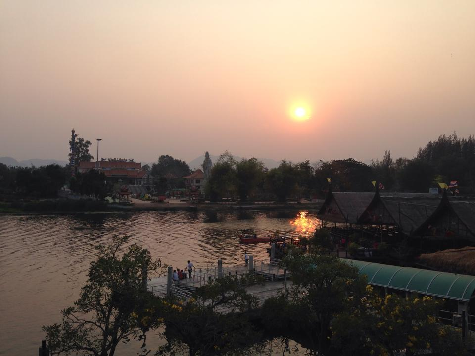 Reading Eat, Pray, Love, overlooking Bridge on the River Kwai