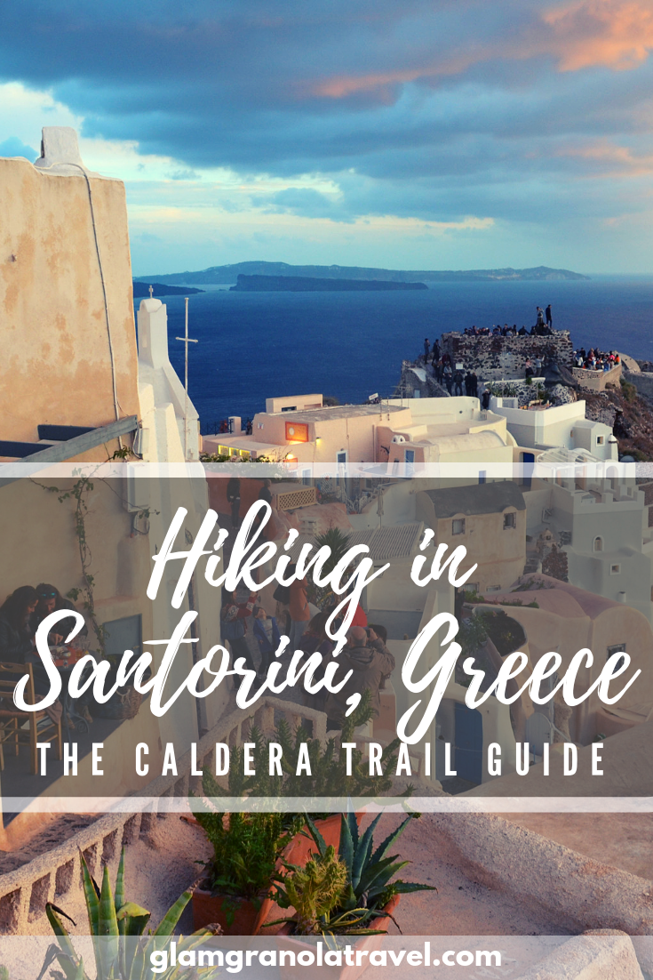 Did you know there\'s an AWESOME hiking trail in Santorini? The scenic Caldera Trail along cliffside Greek villages is an outdoorsy and completely free activity when backpacking in Santorini, Greece! Click for the guide!