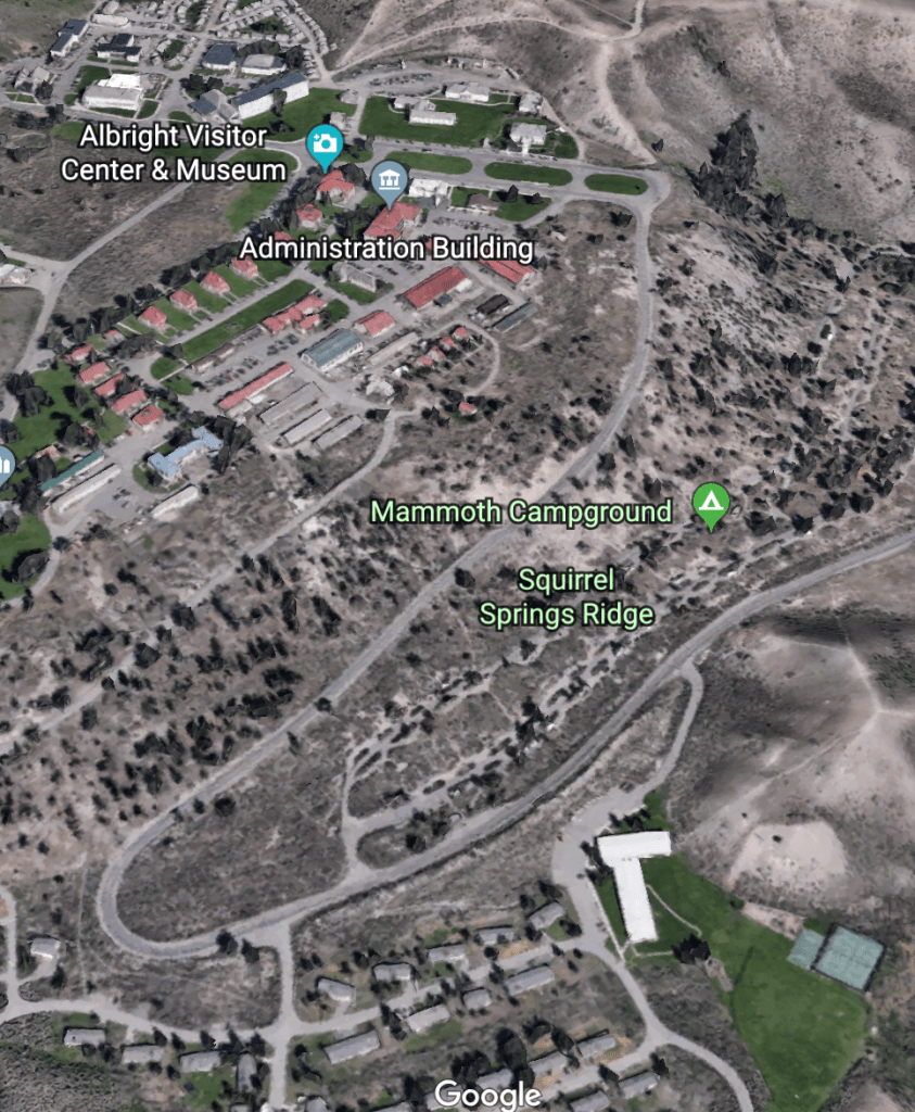 Google Earth View of Yellowstone's Mammoth Campground and Mammoth Hot Springs complex