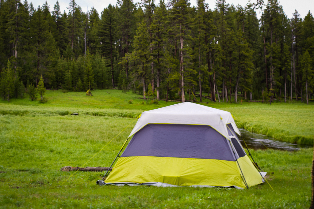 Tent site at Norris Campground, Yellowstone National Park
