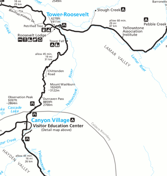 Day 4 map of your Yellowstone itinerary