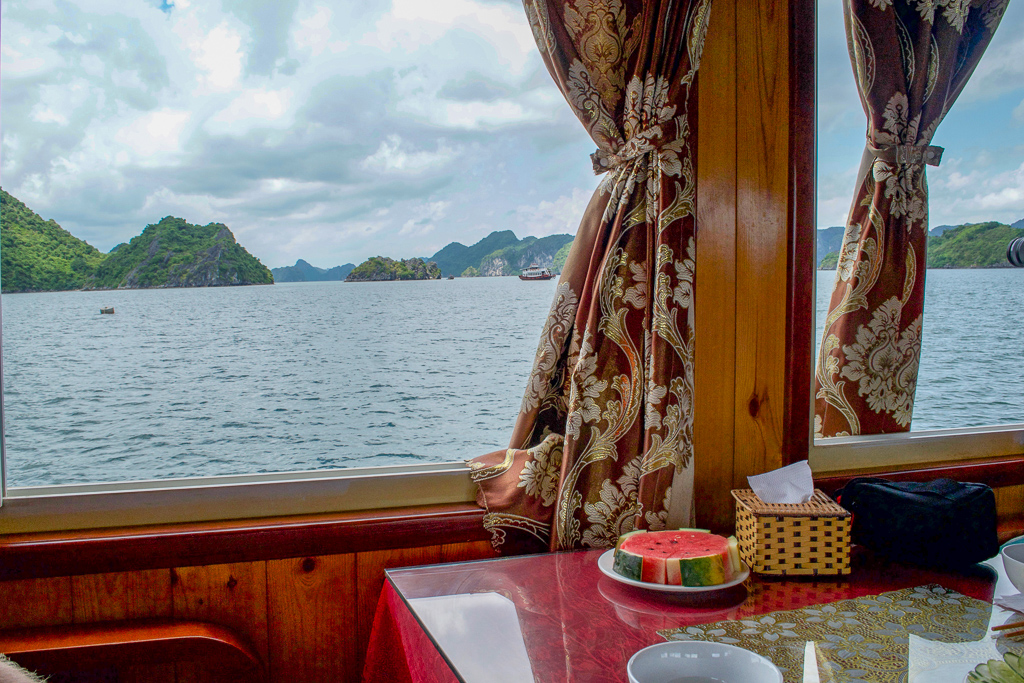 Lunch on Cat Ba Ventures day tour of Halong Bay
