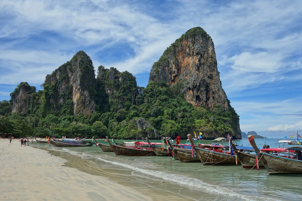 Railay Beach, a top destination for climbers and easygoing adventurers on their Thailand trips