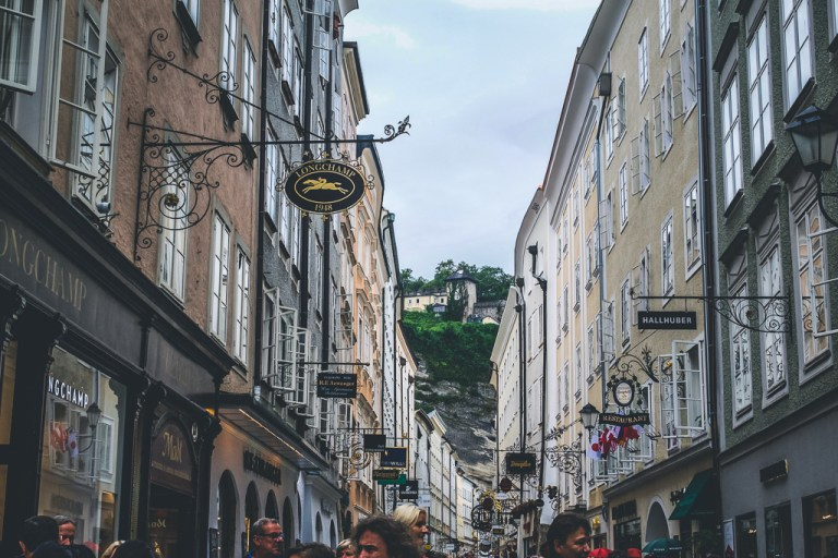 Linzergasse Pedestrian walking street in Salzburg's Old City
