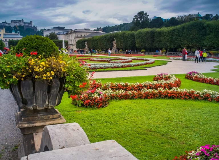 Mirabell Palace and Gardens with Salzburg Fortress in the back
