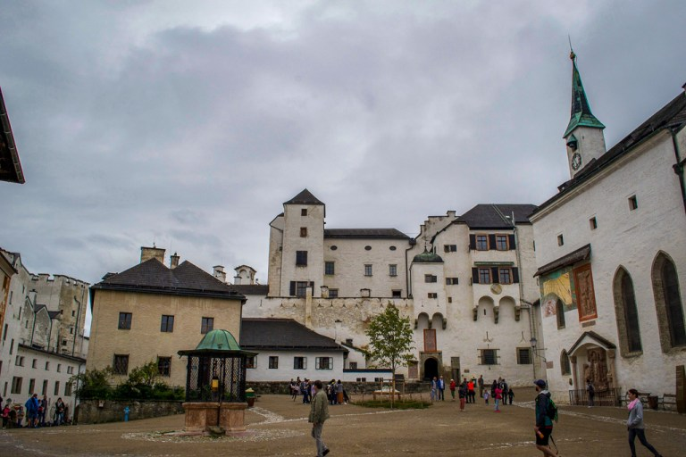An old square within the walls of the Salzburg Fortress
