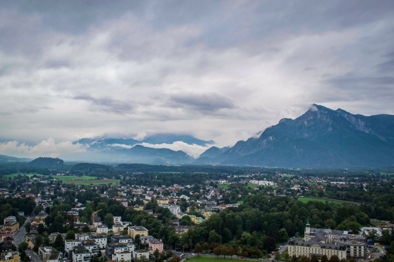 Views of the mountains and Salzburg countryside from atop Salzburg fortress
