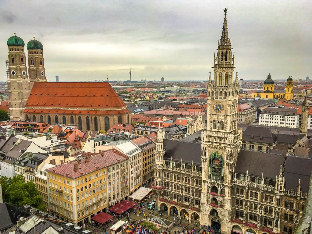 View of Munich's Marienplatz and Old Town from St Peter's Church