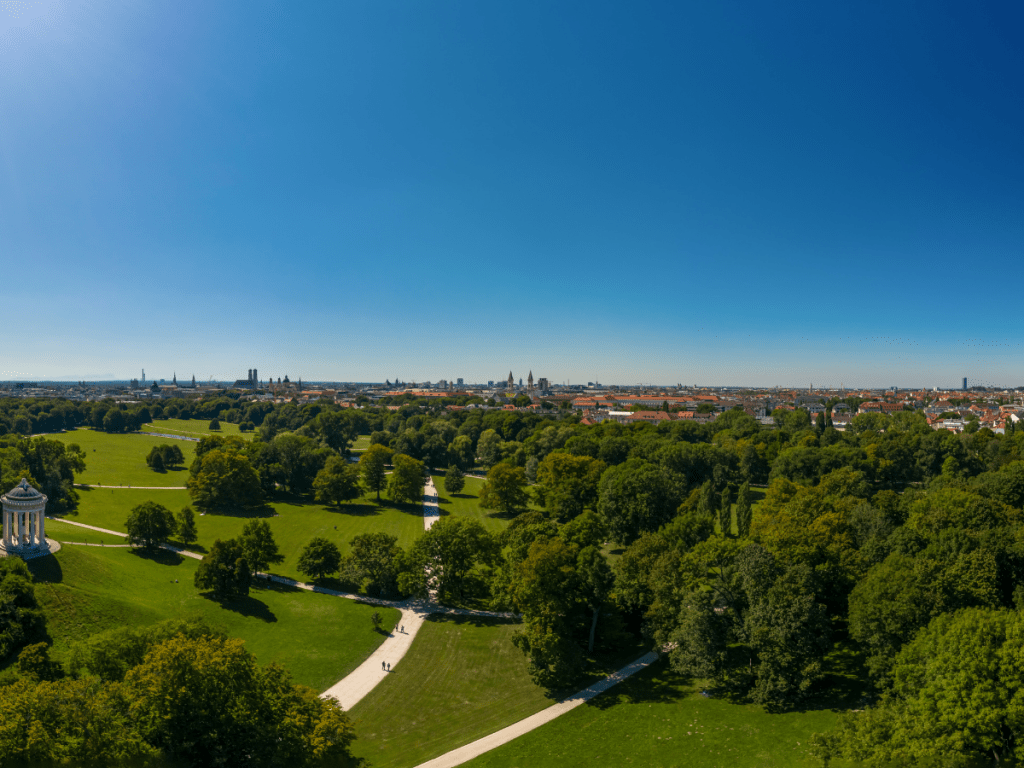 Overhead view of the English Garden urban park and Munich