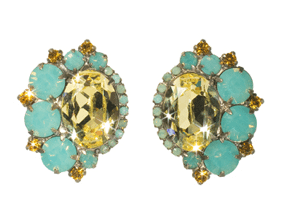 Bold Asymmetric Crystal Earring with Oval Center - featured at NYFW
