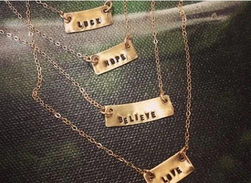 Hand Stamped Gold Filled Station Necklace