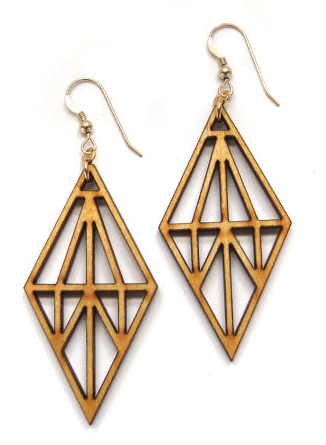 Suspension Laser Cut Wood Earrings, Geometric Earrings