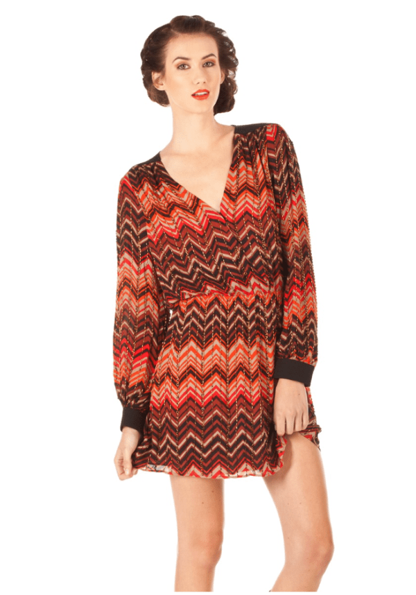 PARKER BEADED DRESS IN RED ZIG ZAG