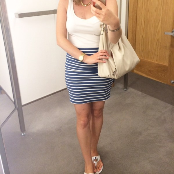 striped pencil skirt and white tank top
