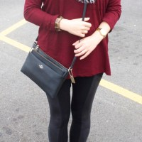 Burgundy Sweater/Tunic with Black Leggings and Leopard Scarf