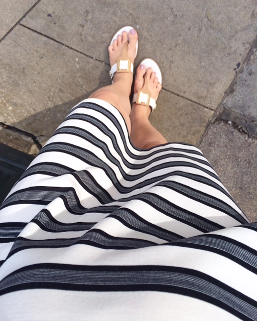 summer look, black and white, dress, stripes