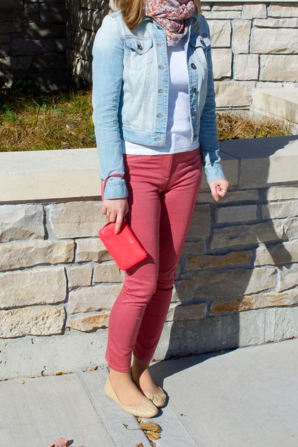 Red denim jeans