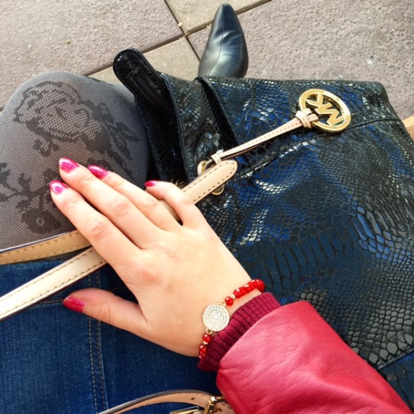 Red Leather Jacket and Denim Skirt